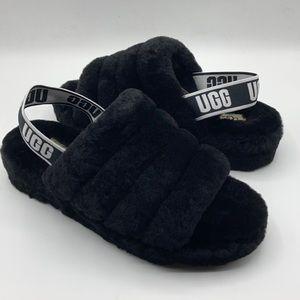 UGG Fluff Yeah Black Sheepskin Slippers